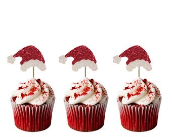 Christmas Santa Hat Cupcake Toppers - Pack of 8 - Glittery Xmas Santa Cake Topper - Glittery Red and White