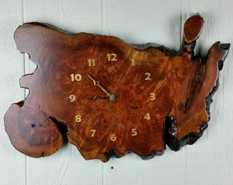 Redwood Burl Clock Handmade Wall Hanging Rustic Slab Anniversary Gift #2