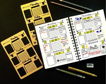 Set of 2 stencils, Bullet Journal Stencil, Planner Stencil, Bullet Journal, Bullet Journal template