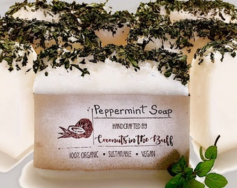 Peppermint Scented, Pure Coconut Soap, Handcrafted, Greater than 6 oz