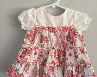 1990s Infant Girls Kidgets Floral Print Tiered Dress 0-6 Months