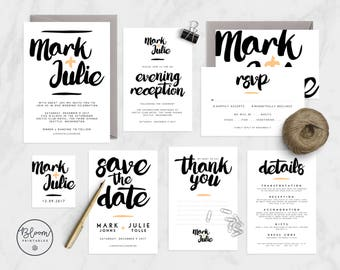 Wedding Invitation Set, Printable Wedding Invitation, Modern Wedding, Wedding Invitation Suite, Wedding Stationery, RSVP, Save The Date