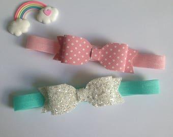 Pair of Pink Polka Dot and White Glitter Bow Headband