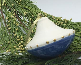 Blue & white hand thrown ornament with gold dots