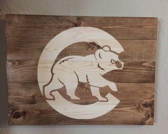 Chicago Cubs Cubbie Bear Sign