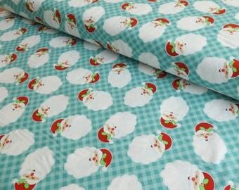 Santa Fabric - Christmas Fabric - Holiday Fabric - Christmas Quilting Cotton - Santa Claus Fabric - Santa Cotton - Blue Christmas Fabric