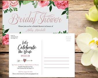 Bridal Shower Postcard Invitation, Bridal Shower, Floral Bridal Shower,  Shower Invitation, Printable Invitation, Wedding Shower