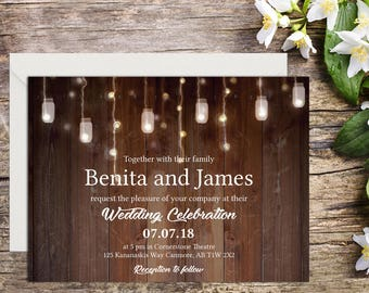 Rustic Wedding Invitation with Setup, Country Wedding, Rustic Invitations, Printable Wedding, Invitation template, Wedding invitation, DIY