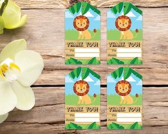 Lion favor tags, jungle tags, safari thank you tag, jungle favor tags, party tags, thank you tags, party favor tags, printable tags