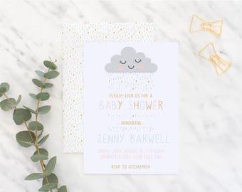 Cloud Rain Baby Shower Invitation, Baby Shower Invitation, Party invitation,  Personalised