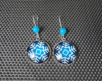 """""""Snow"""" cabochon earrings and silver"""