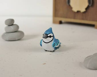 Blue Jay Figurine - Handmade Polymer Clay Cute Bird