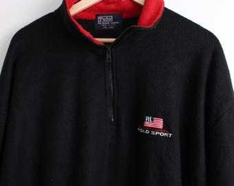 Vintage Ralph Lauren Polo Sport Fleece Sweatshirt Quarter Zip Size XXL