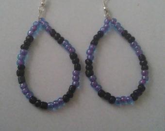 Black and Purple Hoop Earrings