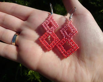 Pink squares earrings / Cubic RAW earrings / Gift for her