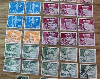 S HELVETIA 33 PERFORATION 5-10-&20 Cent Stamps-Canceled