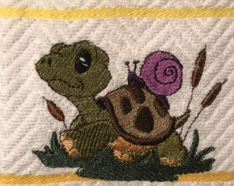 Embroidered Turtle & Snail Kitchen Towels . Set of 2.