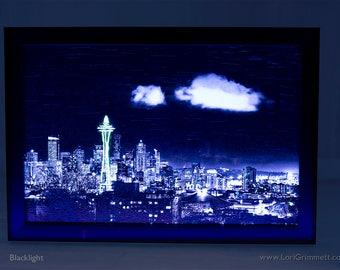 Glow in the dark art, Glowography, Seattle, Washington, blacklight, 8x12