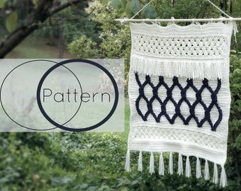 The Cordelia Wall Hanging Crochet Pattern/ Modern Wall Hanging Crochet Pattern/ Wall Tapestry Crochet/ Cable Stitch and Celtic Weave Decor