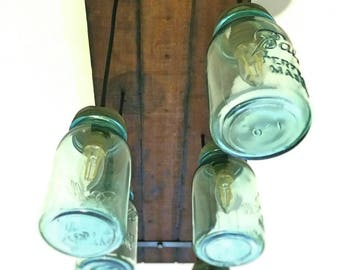 Blue Antique Mason Jar Chandelier