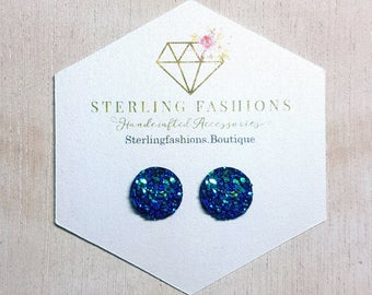 Small - Flat Blue with Green Specs Druzy