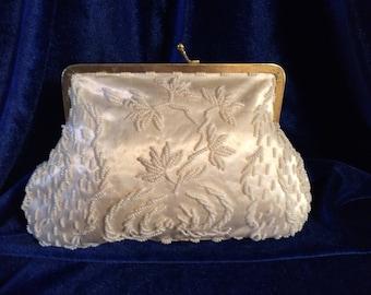 Le Regale by Diga Handbag Clutch Bead Flower Pattern 1950's NWT