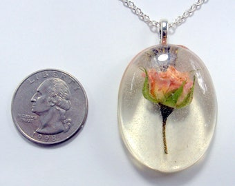 Pink Rose Necklace, real flower jewelry, resin flower jewelry, dried flower jewelry, pressed flower jewelry, boho necklace, dried roses