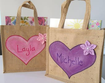 Personalised Bag, Personalised Gift for Her, Painted Jute Bag, Hand Painted Bag, Shopping Bag, Personalised Birthday Gift, Gift for her