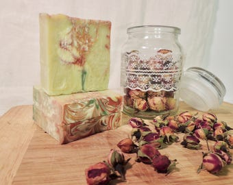 DAMASK ROSE olive oil soap, natural soap, handmade soap, organic soap, cold process soap, mature skin soap, palm free soap, rosewater soap