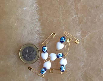 5 pcs evil eye and white heart beads with pin