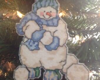 Counted cross-stitch Snowmen Ornaments