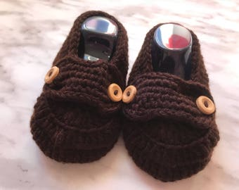 Cozy Baby Loafers-Girls & Boys Brown cotton booties with buttons