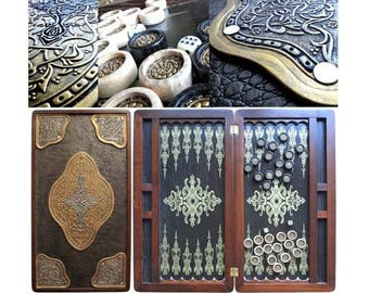 "21"" COOB Golden Eastern Luxury Wooden + Leather Backgammon Tournament Board #2"