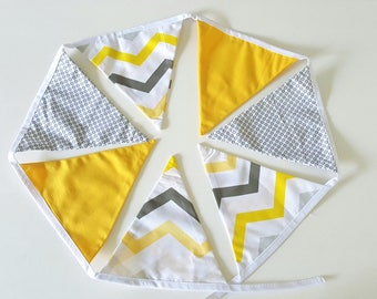 Garland Bunting 7 flags, black yellow and white geometric patterns