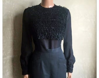 Vintage 60 's blouse, black with lace, and buttons