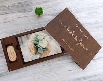 Wedding Gift Ideas Gift for Couple Wedding Photo Box Wood Photo Box Wedding Photography Custom Wedding Box with USB Wood Keepsake Box