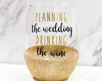 Planning The Wedding Wine Glass