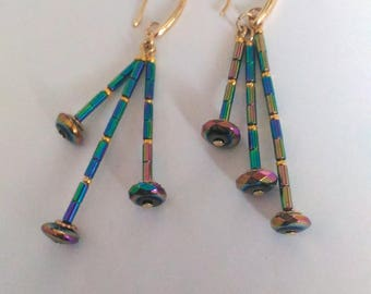 Rainbow natural stone Hematite earrings Tassel earrings Long earrings Handmade jewellery