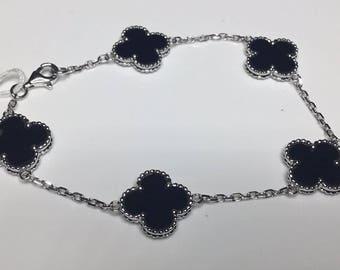 """Estate 18K White Gold 7.25"""" Long Flower Clover Motif Black Onyx Chain Bracelet"""