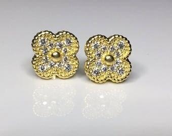 Estate 18k Yellow Gold 1.00 CTW Diamond Clover Motif Earrings 9.3 Grams