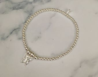 Sterling Silver stretch bracelet with Butterfly charm