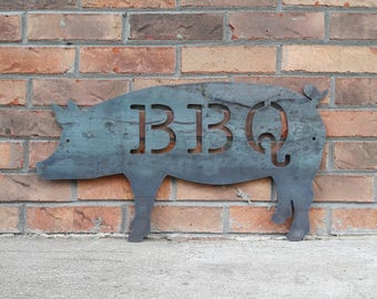 BBQ Pig Metal Sign - Kitchen, Butcher Shop, Barbecue, BBQ, Pig Metal Sign - Custom Sizes Available