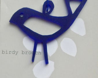 birdy perspex brooch, navy blue frosted perspex brooch, bird brooch, acrylic brooch, laser cut brooch,unique gift, quirky gift, handmade  UK