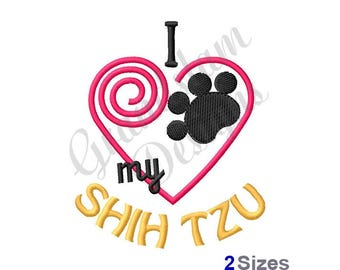 I Love My Shih Tzu - Machine Embroidery Design