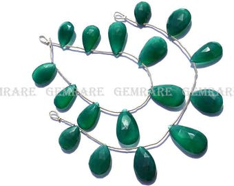 Semiprecious Gemstone Green Onyx Faceted Pear beads, Quality AAA, 12.50x19.50 to 15x24 mm, 18 cm, 9 pieces, GR-042/1, Craft Supplies
