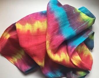 Rainbow tie dye baby blanket
