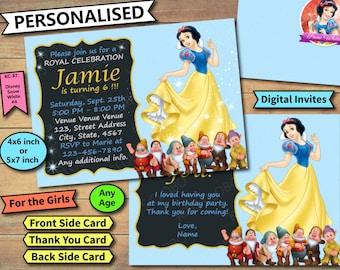 Snow White Invites, Snow White Birthday Invite, Snow White Birthday Invitation, Snow White Birthday Invite, Snow White invitations, Princess