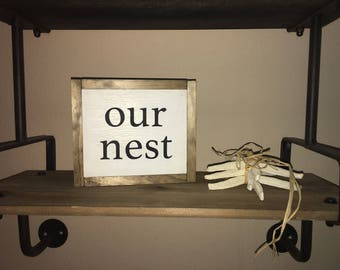 dbc   Mini our nest wood sign