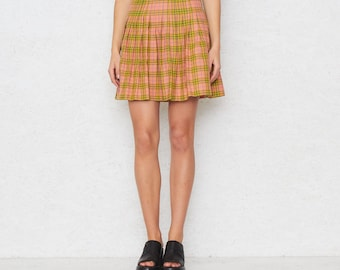 Vintage Orange Green Pleated Tartan Mini Skirt/ Size 42