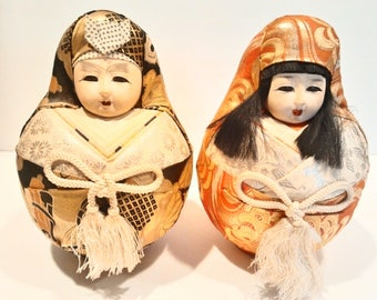 Vintage Asian Gofun Wedding Dolls 9 in. Tall